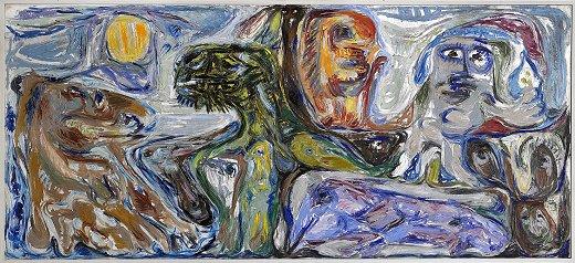Billedet viser maleriet  Af den stumme myte, opus 2 af Asger Jorn