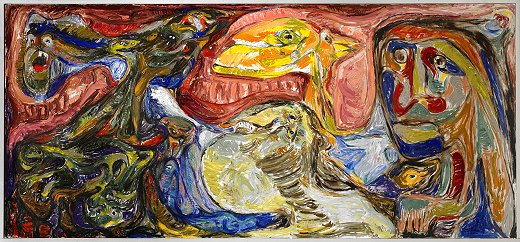 Billedet viser Asger Jorns maleri - Af den stumme myte, opus 7