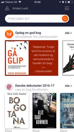 Billedet viser et eksempel på læseinspiration i appen Biblioteket