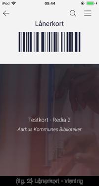 Billedet viser stregkoden til lånerkortet i appen Biblioteket