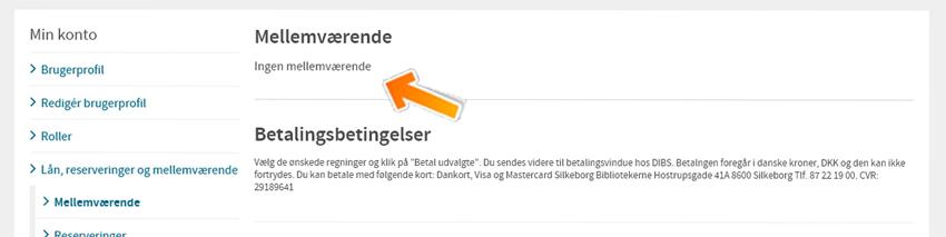 Billedet viser at du kan betale dit mellemværende under knappen Min konto efter Log ind for oven på siden