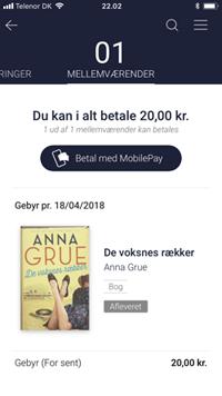 Billedet viser et eksempel på bøder inde i appen Biblioteket