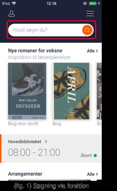 Billedet viser eksempel på søgning i appen Biblioteket