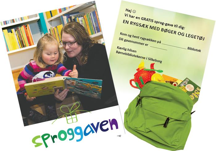 en rygsæk med bøger og legetøj. Kom og hent rygsækken på ... bibliotek. Dit gavenummer er... Kærlig hilsen børnebibliotekerne i Silkeborg.