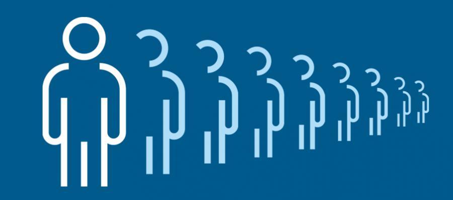 Hvide piktogram-mennesker i kø på en blå baggrund