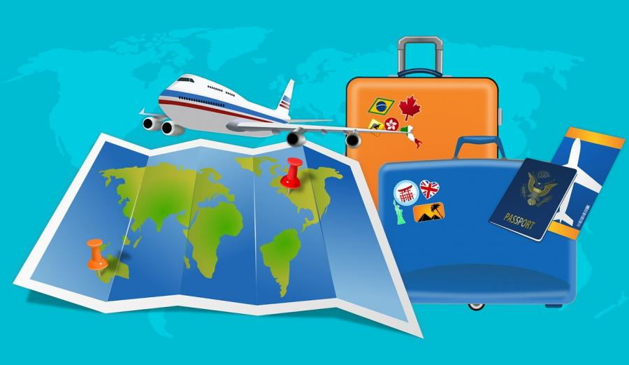 Tegning af verdenskort, fly, 2 kufferter og pas
