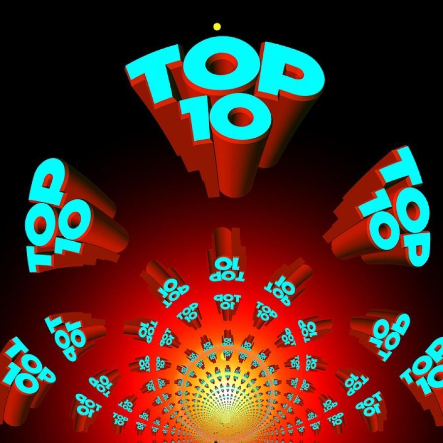 TOP 10 skrevet i forskellige størrelser på rød baggrund