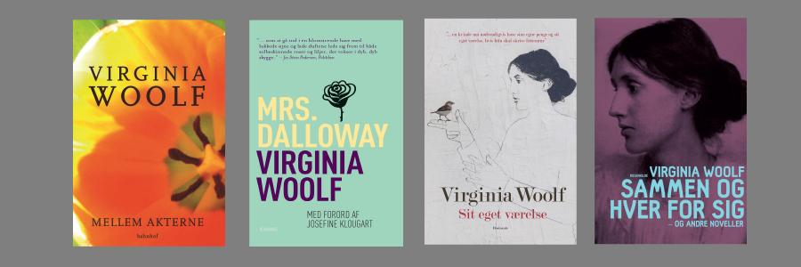 Tre bogforsider af Virginia Woolfs bøger